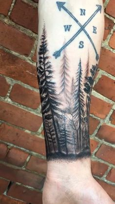 Forest tattoo done by Shaun at Stained Skin in downtown Columbus, OH Forest Tattoo Sleeve, Wolf Tattoo Sleeve, Forest Tattoos, Forearm Tattoo Men, Native Tattoos, Viking Tattoos, Moutain Tattoos, Half Sleeve Tattoos For Guys, Band Tattoo