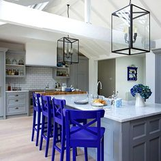 Grey and blue shaker style kitchen ideas - kitchen design ideas, kitchen remodel, kitchen remodel ideas, true food kitchen