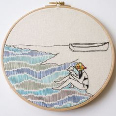 Lovely girl by the see Embroidery, Hoop art