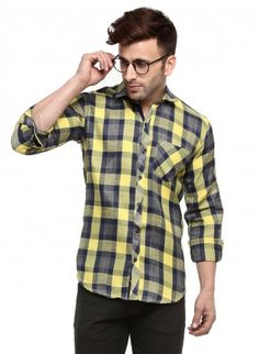 Buy Checked Brush Twill Casual Shirt Online at Low prices in India on Winsant  #shirts #casualshirt #mensfashion #fashionblogger #fashion #style #winsant #pinterestmarketing #pinterest Casual Shirts For Men, Men Casual, Yellow Flannel, Online Shopping Websites, Trouser Jeans, Daily Wear, Workout Shirts, Short Sleeves