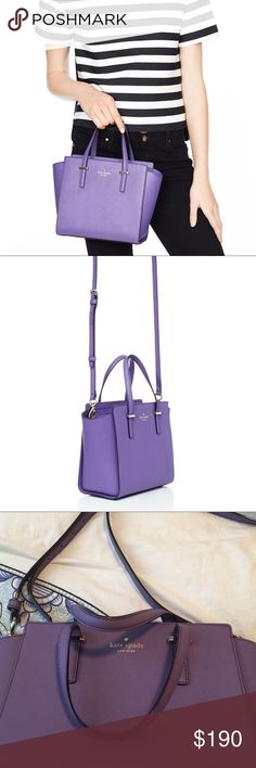 Kate spade small Hayden Mountbatten Beautiful purple color. Hardly worn, no marks or flaws on the outside, looks new!! Stores in dust-bag (included) and well taken care of.  Minimal marking in the inside is hardly noticeable. Smoke-free home, authentic. kate spade Bags Satchels