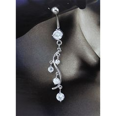 Round Clear Cubic Zirconia Dangling Cute Belly Button Rings