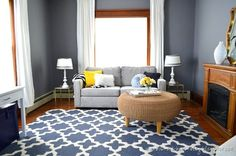 wood stain trim with gray walls | Den with wood trim and hardwood floors. Walls painted ... | For the H ...