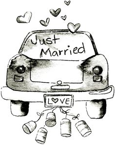 just married wedding graphic decoupage transfer