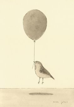 """""""bird with a balloon"""" Art Print by Marc Johns on Society6."""