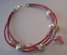 Pink Leather and Freshwater Pearl by PearlnLeatherJewelry on Etsy