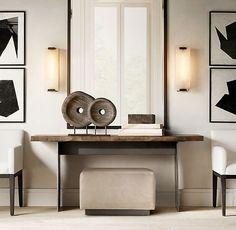 Reclaimed Russian Oak Live-Edge Russian Oak Console Table - All About Decoration Live Edge Console Table, Modern Console Tables, Console With Mirror, Console Table Decor, Flur Design, Design Design, Design Trends, Design Ideas, Table Design