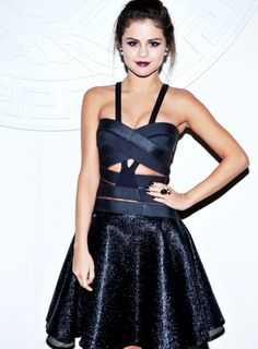 Selena Gomez in a beautiful bandage deep blue dress.