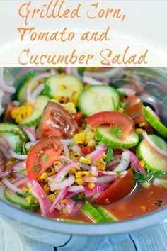 Grilled Corn, Tomato and Cucumber Salad Recipe- grilled corn and farmer's market vegetables with Asian flair- the perfect healthy side dish!  | #cucumbersalad | www.savoryexperiments.com