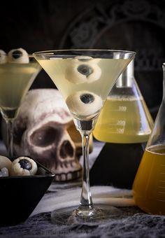 Creepy Eyeball Martini ( Lychee Matcha and Blood Orange Martini)