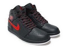 53ef768d03db59 Air Jordan 1 Mid Anthracite Gym Red 554724-045 - Sneaker Bar Detroit Retro  Sneakers