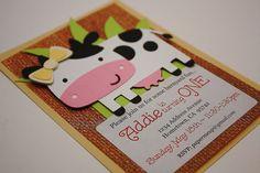 Handmade Farm Animal Party Invitations – 10 Invites & 10 Envelopes - Barnyard Cream Cow w/ Bow - Girl First Birthday Decoration – CUSTOM