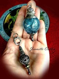 Isle Of Skye..Magical Witch Ball Diving/Dowsing Pendulum Pendant W/Ancient Wicked Gnarly Charm Pendant..Beautiful 40MM Blue Blown Glass
