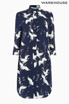 Buy Blue Warehouse Bird Print Shirt Dress from the Next UK online shop