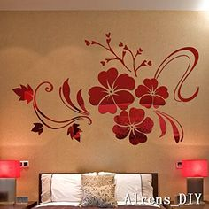 Amazon.com: Alrens_DIY(TM)Multi-pcs Large Flowers DIY TV Background Decor Mirror Surface Crystal Wall Stickers Acrylic 3D Home Decal Living Room Murals Wall Paper adesivo de parede (S--1000mm*800mm, Red)