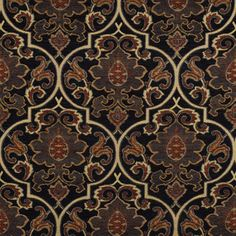 Brinkley Black is a bold dark damask tapestry upholstery fabric from Swavelle Mill Creek available and in stock at The Fabric Co. Pattern Name: Brinkley Color Name: Black Width: 56 Horizontal Repeat: 14 Vertical Repeat: 18 Fiber Content: Poly Chenille