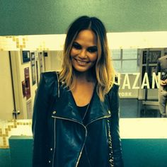 Chrissy Teigen's new hairstyle. Ombre hair with shoulder length bob.