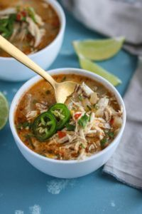 Slow Cooker White Chicken Chili   Whole30 chili recipes   Whole30 soup recipes   Whole30 crockpot recipes   grain free soup recipes   gluten free soup recipes   dairy free soup recipes    The Real Food Dietitians #whole30 #chickenchili #healthysoups