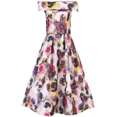 Jolie Moi 3D Floral Print Bardot Dress, Pink (165 AUD) ❤ liked on Polyvore featuring dresses, pink skater skirt, floral print dress, off shoulder maxi dress, evening dresses and floral midi dress