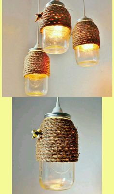 This could be a cute tealight holder too! The Hive Mason Jar Pendant Lamp, Hanging Lighting Fixture With A Rope Wrapped Half Gallon Jar, Rustic BootsNGus Lighting & Home Decor Hanging Light Fixtures, Hanging Lights, Mason Jar Crafts, Mason Jars, Diy Luminaire, Bee Skep, Bee Party, Bee Crafts, Idee Diy