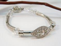 Women's Silver Bracelet Rhinestone Bracelet Swarovski by babbleon