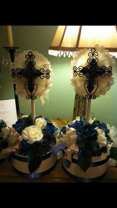 Cross centerpieces great for christening or Communion by Milanosny on Etsy inquire about special orders