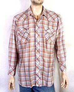 9cc9e3306b vtg 60s Western Fashions soft thin Plaid Pearl Snap Shirt LS Rockabilly sz  XL