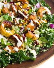 Delicata Squash, Quinoa & Kale Salad with Lemon- tahini Dressing   10 Ingredients & 30 Minutes   picklesnhoney.com #recipe #vegan #thanksgiving #kale #quinoa #squash