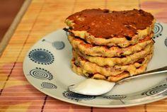 placki z serkiem wiejskim i bananem Food Court, Crepes, Tiramisu, Pancakes, Muffin, Breakfast, Ethnic Recipes, Blog, Diet