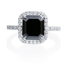Emerald Cut Black Diamond Ring. I don't want to get married for a long time and until all people can get married equally but when I do it's gonna be a black diamond baby