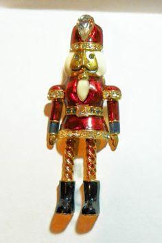 Vintage Avon KR Rhinestone Enamel Goldtone Christmas Nutcracker Brooch Pin Tac | eBay
