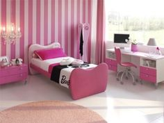 Pink Girls Bedrooms Ideas  The most common color for a girl's room is pink so we'll start with that. Pink can come in various hues from the light, pastel ones to the darker ones such as fuchsia and hot pink. The pink color is associated with fairy-tale princess or Barbie and almost every girl dreams about a charming pink bedroom.