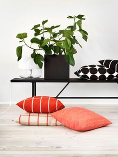 A bench in front of the fireplace with pillows would look cute  | Finnish Design House - Marimekko.com