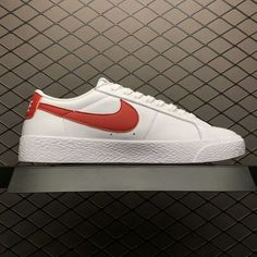 Nike SB Blazer Zoom Low Leather White Red 864347-306 Free Shipping-3 8d8c77bc8