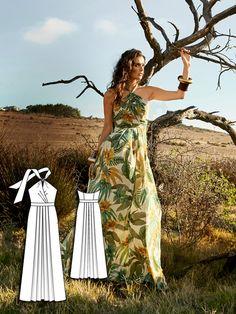 womens halter maxi dress sewing pattern 106-062016-B