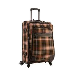 Genuine Pierre Cardin Tartan CHECK Luggage Carry-On Travel Bag / 25 inch Brown