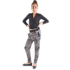 Dinamit Golden Black Kids' Fierce Leopard-, Spandex Knitted Jogger Pants