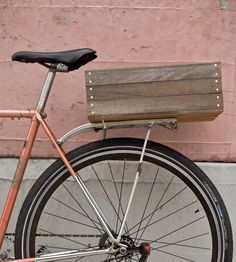 Wooden Kourier Bicycle Crate in Accessories by Surname Cycling Co. on Scoutmob Shoppe. This neat vintage bike crate is made from reclaimed wood and comes in multiple finishes. #bicycle #crate #wood
