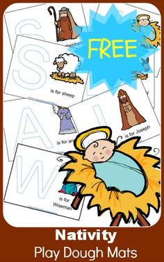 Free Nativity Play Dough Mats