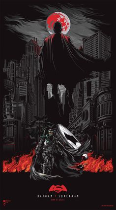"Alternative poster ""Batman v Superman"" on Behance Batman V Superman Poster, Batman Artwork, Dc Comics Art, Fun Comics, Cool Art Drawings, Cool Artwork, Superman Hd Wallpaper, Ajin Anime, Movie Poster Art"