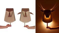 Glowing Antler Lamp by Chen Bikovski Deer Lamp, Antler Lamp, Children's Pop Up Books, Origami Templates, Box Templates, Origami Lamp, Bright Homes, Unique Lamps, Foam Crafts