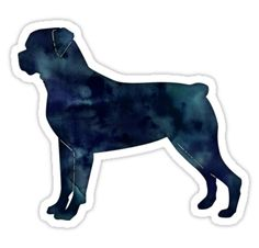 Rottweiler Black Watercolor Silhouette by TriPodDogDesign