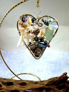 Sea Turtles- White Branch Coral -Sea Glass -Shells and Mother of Pearl Heart Suncatcher -Christmas Ornament-One of a Kind-Nautical Heart Sea Turtle Art, Sea Turtles, White Branches, Artist Card, Heart Frame, Cat Wall, Purple Glass, Mother Pearl, Suncatchers