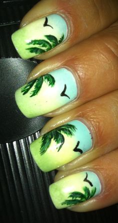 Simple free hand gradient palm tree and birds