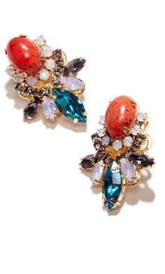 Swarovski crystal earrings in colorful stones and 14k gold plated brass.
