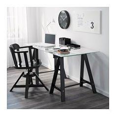 IKEA - GLASHOLM / ODDVALD, Mesa, , Al ser de vidrio templado, el tablero no se mancha y es fácil de limpiar.