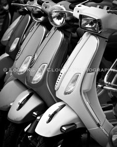 Vespa Scooter  black and white  art photography by LookingAtClouds, $25.00