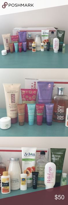 5 POUND BUNDLE #1 (including box)-- MAKE OFFER! **USED** ziaja natural olive cream (new), Avon shimmer lotion, Mary Kay exotic passionfruit sugar scrub (full), MK forever orchid lotion (almost full), Mary Kay lotion samples in: warm amber, simply cotton, exotic passionfruit & forever orchid, bath & body works berry shower gel, travel olay moisture body wash, Trader Joe's foaming milk bath, travel Vaseline lotion, st Ives apricot Scrub, naked aloe cream, b&bw stress relief body wash & lotion…