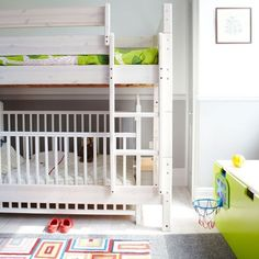 So many great bunk bed ideas ... especially love the crib down/bed up.