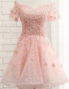 Pink Homecoming Dress, Off-shoulder Homecoming Dress,Short Sleeve Homecoming Dress,Appliques Homecoming Dress,Short Prom Dress,PD000126